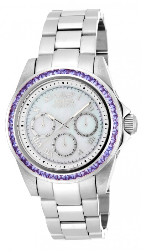 New mens invicta 17713 speedway purple crystal bezel steel bracelet watch ebay for Men decagonal bezel bracelet