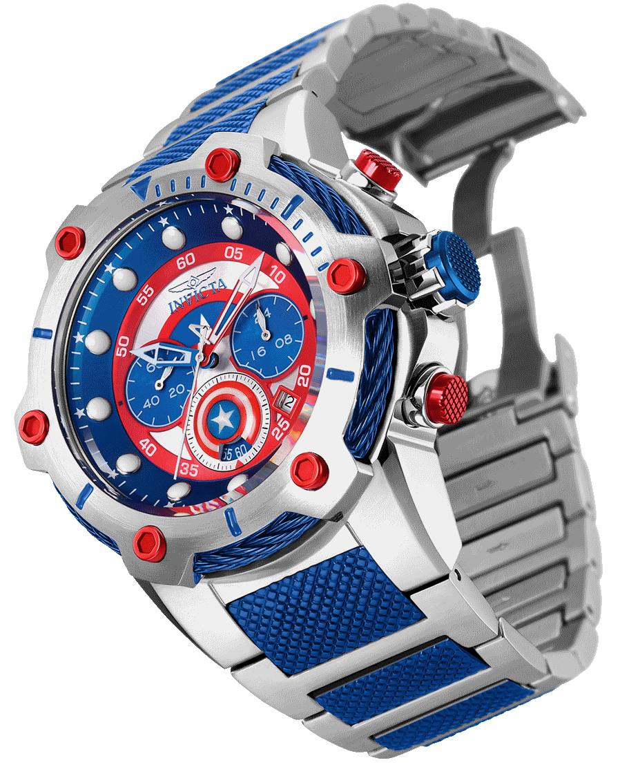 INVICTA Marvel Men 51.5mm Stainless Steel Stainless Steel Blue+Dark Red dial VD53 Quartz