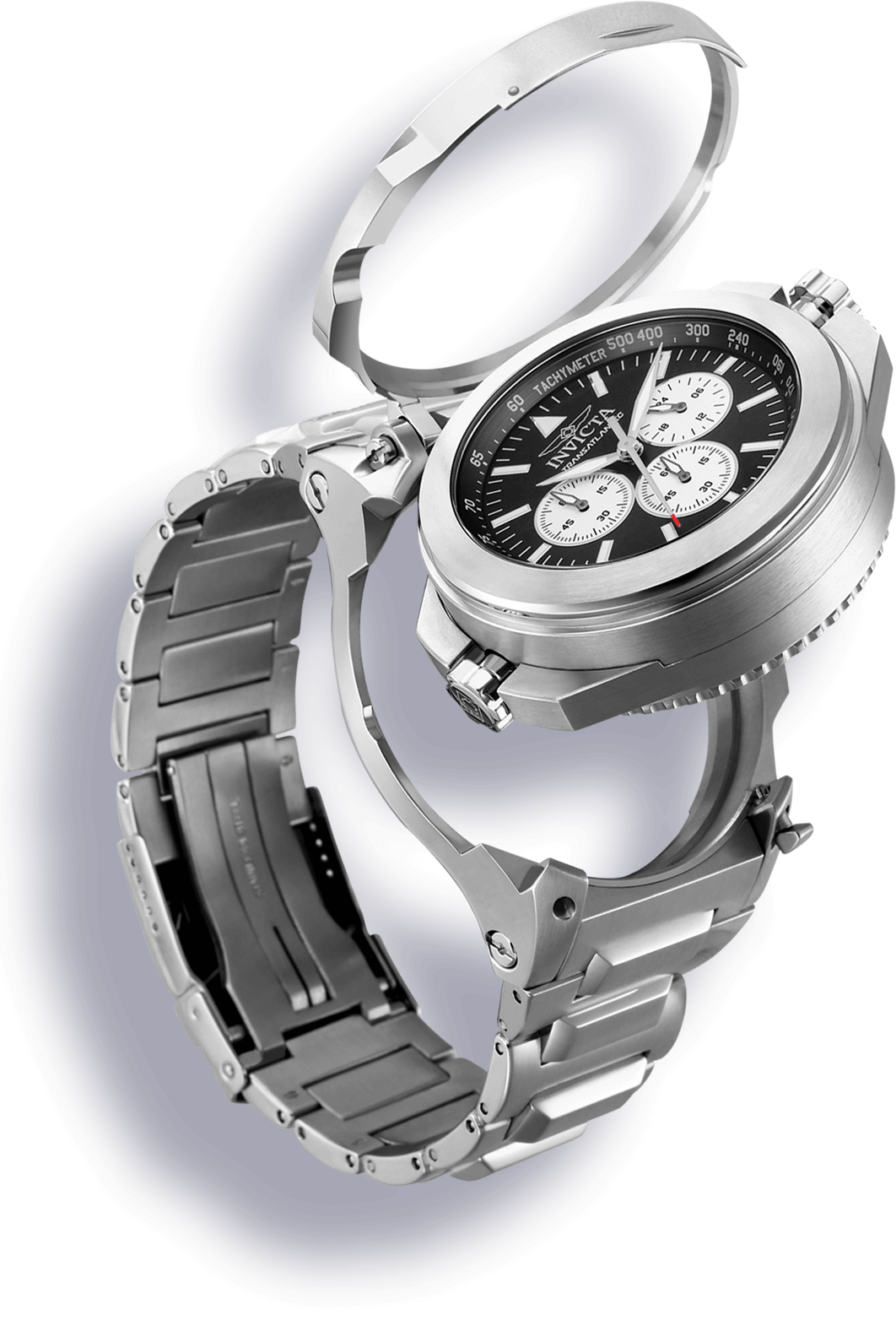 Image of INVICTA Bolt Men 52mm Stainless Steel Black + Stainless Steel Titanium dial 5040.D Quartz
