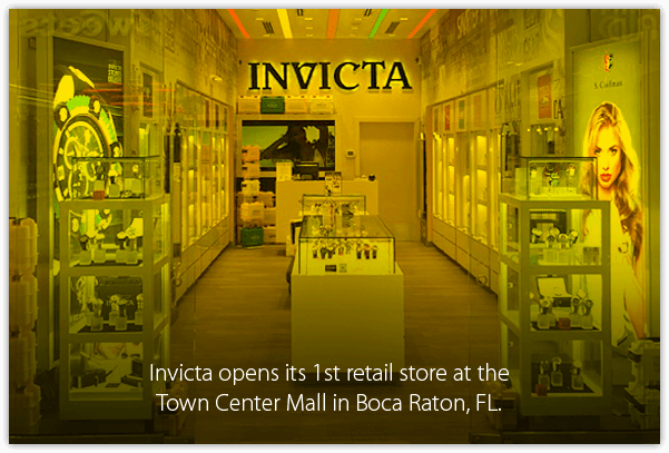 Invicta opens its 1st retail store at the Town Center Mall in Boca Raton, FL.